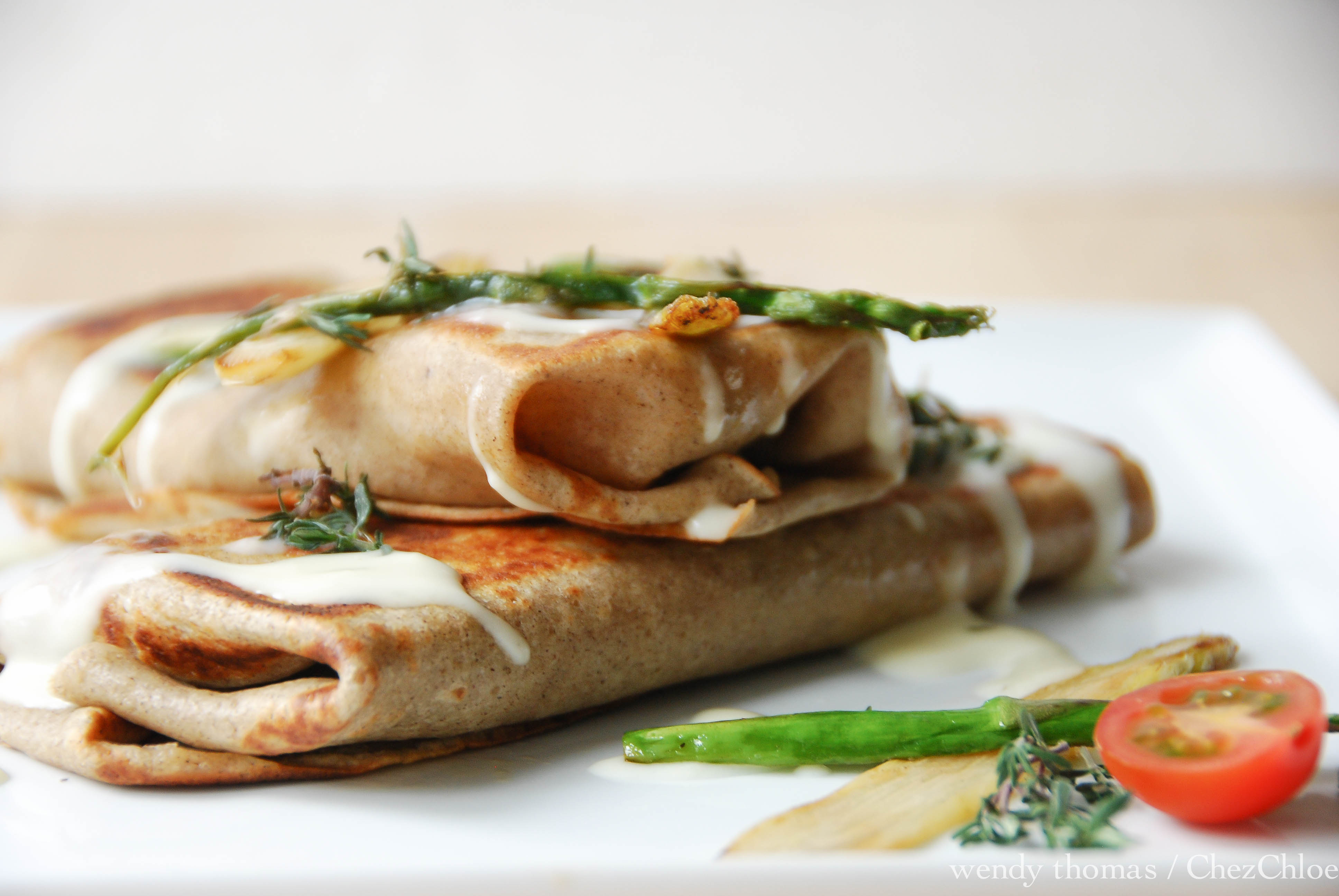 Buckwheat Crepes, Asparagus, Proscuitto,Gouda & Mornay « Chez Chloé