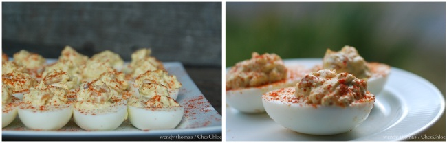 Peach chutney and deviled eggs