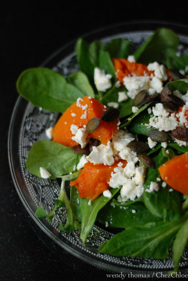 Pumpkin and feta salad with maple vinaigrette