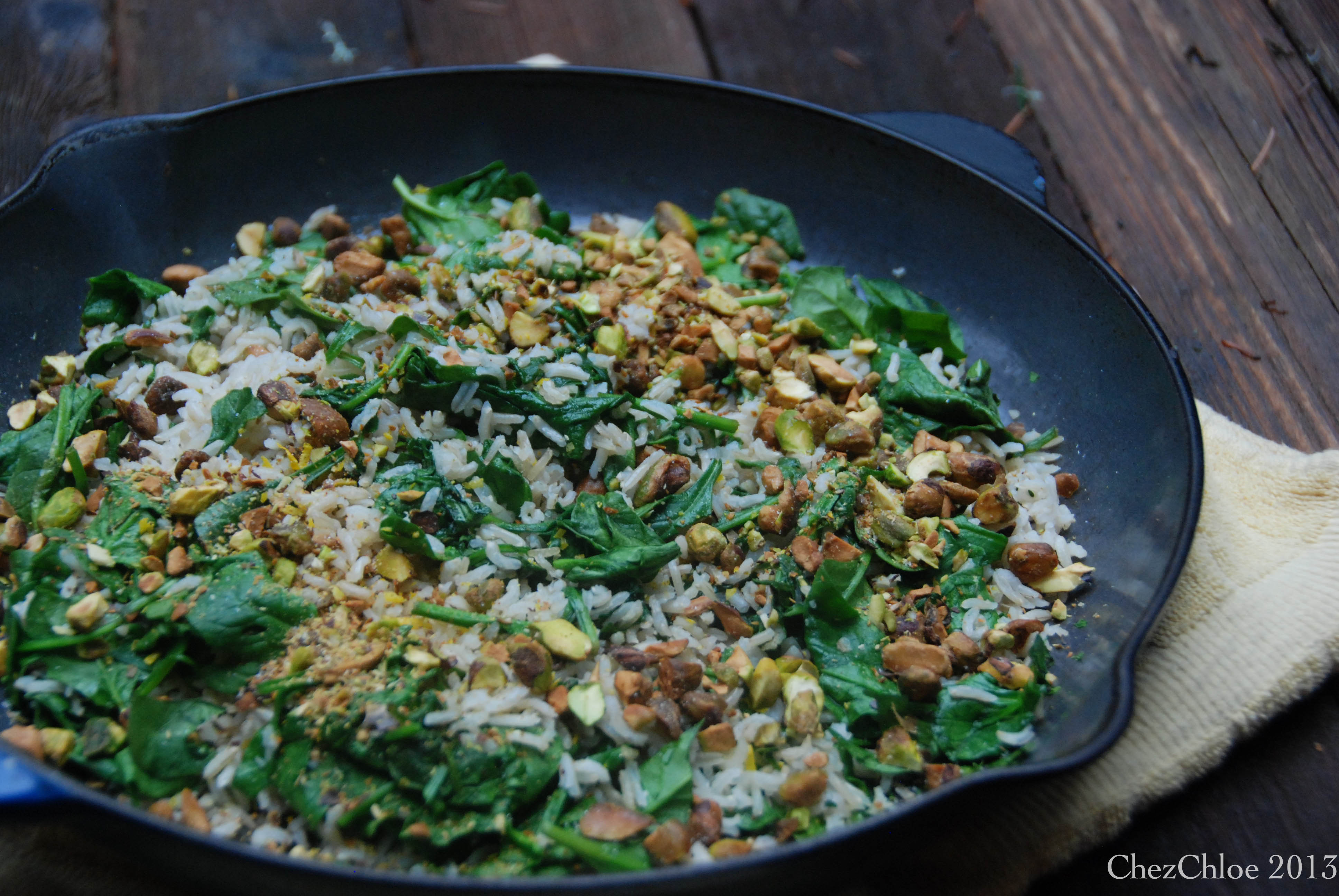 Print oh so simple recipe Rice with Spinach and Pistachios . The ...