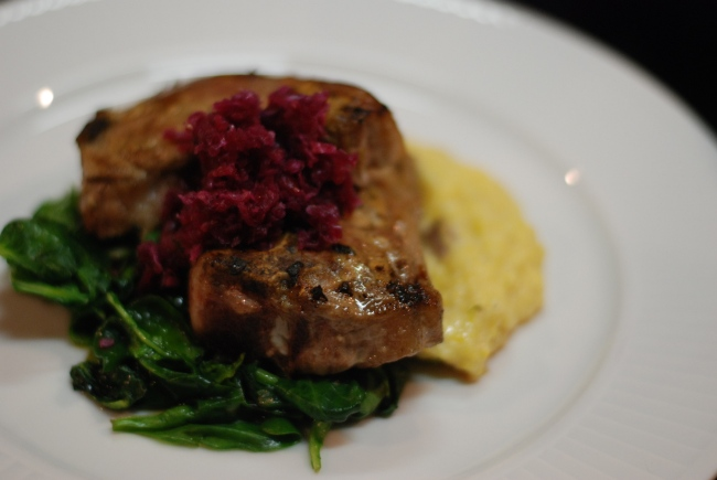 Mustard lamb chops, greens, creamy parmesan polenta, house made red kraut