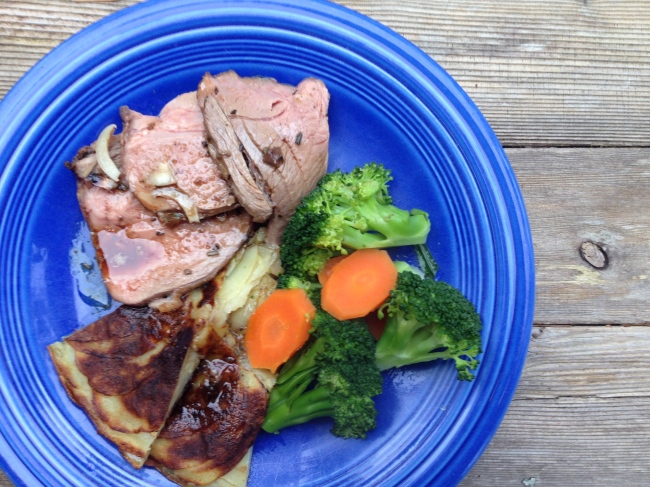 Roasted leg of lamb, pommes anna, simple veggies