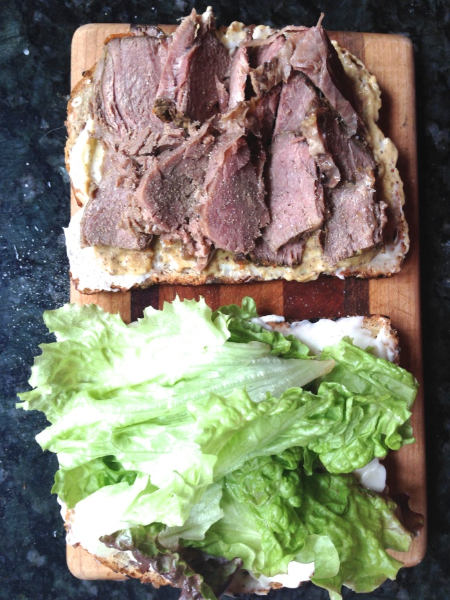Leftover, sliced lamb, mayo, or garlic aioli even better, mustard lettuce, bread... salt and pepper