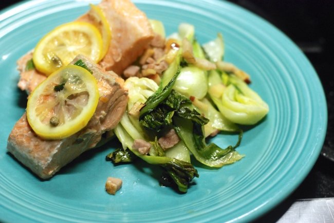 Salmon filets baked at 375 for 12 min with olive oil and lemon, side of grilled bok choy